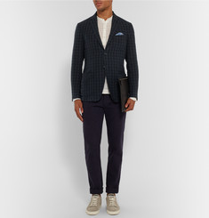 Massimo Alba - Navy Slim-Fit Gingham Linen Blazer