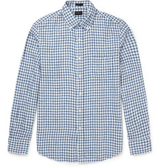J.Crew Slim-Fit Button-Down Collar Gingham Linen Shirt