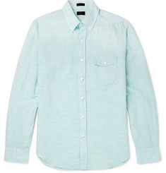 J.Crew Slim-Fit Button-Down Collar Pinstriped Linen and Cotton-Blend Shirt