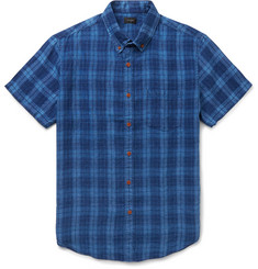 J.Crew Kessler Button-Down Collar Checked Linen Shirt