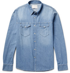 Sandro - Canyon Slim-Fit Cotton-Chambray Shirt