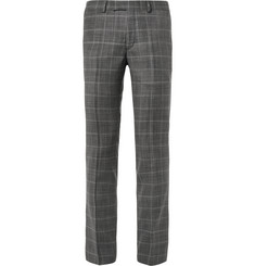 Sandro Grey Slim-Fit Checked Virgin Wool Trousers