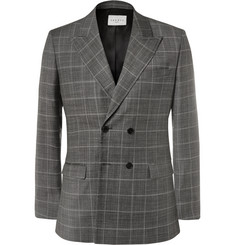 Sandro Grey Slim-Fit Double-Breasted Checked Virgin Wool Blazer
