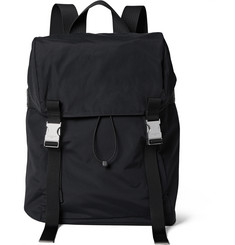 Sandro - Leather and Mesh-Trimmed Shell Backpack