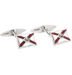 Foundwell Vintage Sterling Silver and Vitreous Enamel Cufflinks