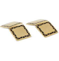 Foundwell Vintage 9-Karat Gold and Enamel Cufflinks