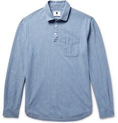 NN07 Slim-Fit Half-Placket Cotton-Chambray Shirt