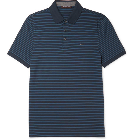 michael kors male 236621 michael kors slimfit striped cottonpique polo shirt navy