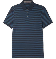 Michael Kors Slim-Fit Striped Cotton-Piqué Polo Shirt