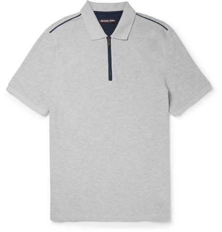 michael kors male 123868 michael kors slimfit cottonpique polo shirt gray