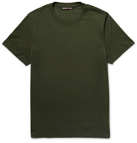 michael kors male 227438 michael kors slimfit cottonjersey tshirt army green
