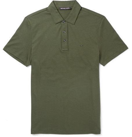 michael kors male 227429 michael kors cotton polo shirt green