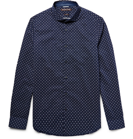 michael kors male 236621 michael kors slimfit printed cottonpoplin shirt navy