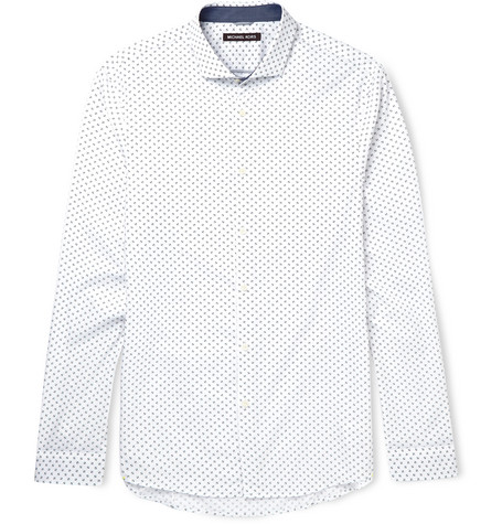 michael kors male 45883 michael kors slimfit cutawaycollar printed cotton shirt white