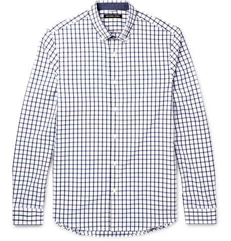 michael kors male 201920 michael kors chase slimfit buttondown collar checked cotton shirt blue