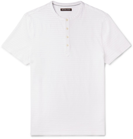 michael kors male 45883 michael kors striped slub cotton henley tshirt white