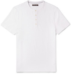 Michael Kors Striped Slub Cotton Henley T-Shirt