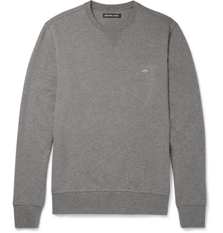 michael kors male 123868 michael kors melange loopback stretchcotton jersey sweatshirt gray
