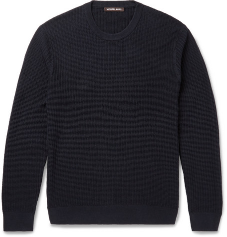 michael kors male 236621 michael kors slimfit texturedcotton sweater navy