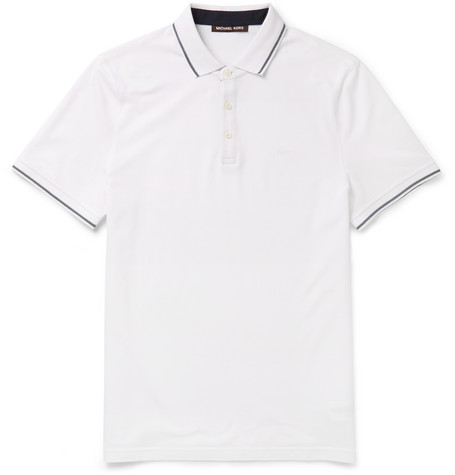 michael kors male 45883 michael kors slimfit contrasttipped cottonpique polo shirt white