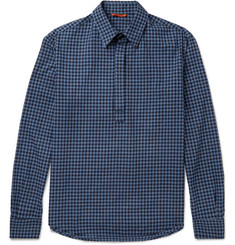 Barena Slim-Fit Half-Placket Gingham Cotton Shirt