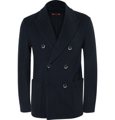 Barena Navy Pinstriped Virgin Wool and Cotton-Blend Blazer