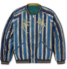 KAPITAL - Slim-Fit Reversible Striped Cotton-Blend and Velvet Souvenir Jacket