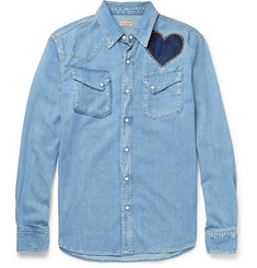 KAPITAL Slim-Fit Appliquéd and Embroidered Denim Shirt