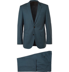 Hugo Boss Blue Slim-Fit Super 130s Virgin Wool Suit