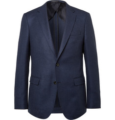 Hugo Boss Navy Slim-Fit Stretch Virgin Wool Blazer
