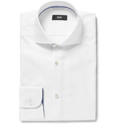 Hugo Boss White Jery Slim-Fit Cutaway-Collar Cotton Shirt