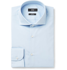 Hugo Boss - Blue Slim-Fit Cutaway-Collar Cotton Shirt