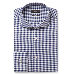 Hugo Boss - Blue Jason Slim-Fit Cutaway-Collar Gingham Cotton Shirt