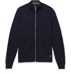Hugo Boss - Cotton and Wool-Blend Zip-Up Cardigan