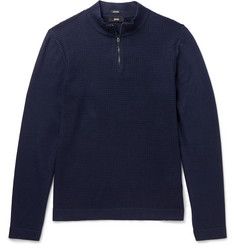 Hugo Boss Henderson Cotton and Virgin Wool-Blend Half-Zip Sweater
