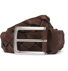 Hugo Boss 3.5cm Brown Braided Leather Belt