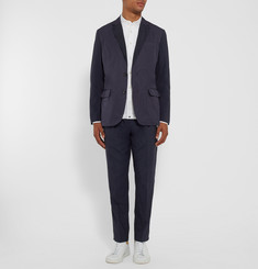 Marvy Jamoke Navy Slim-Fit Panelled Shell and Wool-Blend Blazer