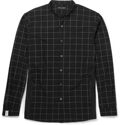 Marvy Jamoke Grandad-Collar Windowpane-Checked Cotton Shirt