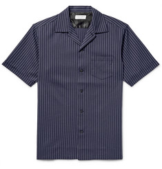 Marvy Jamoke - Camp-Collar Pinstriped Cotton Shirt
