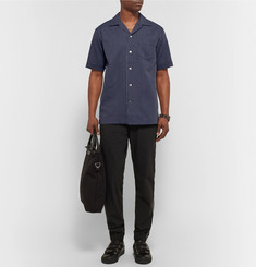 Marvy Jamoke Camp-Collar Pinstriped Cotton Shirt