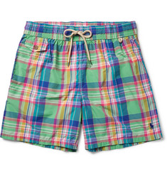 Polo Ralph Lauren - Traveler Mid-Length Plaid Cotton-Blend Swim Shorts