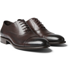 Hugo Boss - Stockholm Cap-Toe Burnished-Leather Oxford Shoes