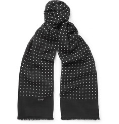 MR PORTER 5th ANNIVERSARY + Drake's Polka-Dot Wool and Silk-Blend Scarf