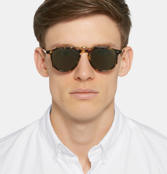 Garrett Leight California Optical - Hampton 46 Tortoiseshell Acetate Optical Glasses with Clip-On UV Lense