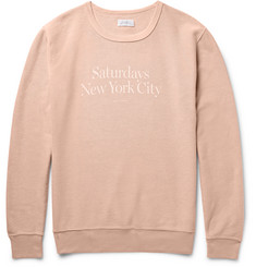 Saturdays NYC Bowery Printed Garment-Dyed Cotton-Twill Sweatshirt