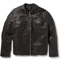 Jean Shop - Textured-Leather Biker Jacket