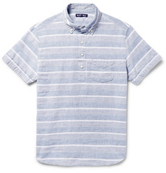 Alex Mill Button-Down Collar Striped Linen And Cotton-Blend Shirt