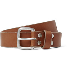 J.Crew 2.5cm Brown Brody Washed-Leather Belt