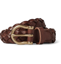 J.Crew 2.5cm Brown Braided Leather Belt