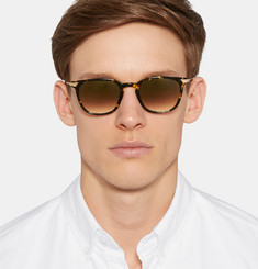 Barton Perreira Dean Square-Frame Tortoiseshell Acetate and Metal Mirrored Sunglasses